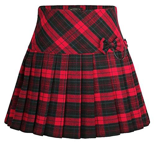 Pleated Skirt Sommer Rot Karierter Skort Damen Mini Elastische Hohe Taille Belted Short Dress Geraffte A-Linie Kleid Strand und Fitness Rock (Taille-mini-rock Geraffter)