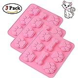Himi - Juego de 3 moldes de silicona para hornear tartas de perro, pat..