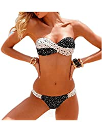Aidonger Damen Push-up Drucken Bunt Rückwärts Bandeau Badeanzug Shorts Frauen Bikini-Sets mit Stahlstütze Brustpolster Cups Mädchen Bademode