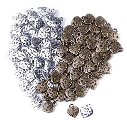 BronaGrand 100 Stück Mini Herz Anhänger Charms Perlen Herz mit Aufschrift Made with Love Antique Silbern und Bronze Handgemachte Schlüsselzubehör für DIY Handwerk Schmuck -