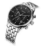 BUREI Herren Chronograph Armbanduhr Schwarzem Zifferblatt mit Saphirglaslinse Datum Kalender und Edelstahl Armband Luxus Männer Uhren (Schwarz-Silber)