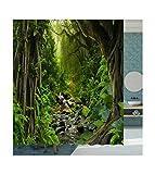AMDXD Duschvorhang für Badezimmer, Polyester, 90 x 180 cm, Grün