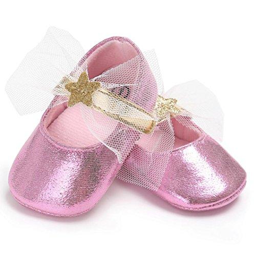 Babyschuhe Longra Baby Süß Prinzessin Mädchen Krippe Schuhe Soft Sole Anti-Rutsch-Turnschuhe Lauflernschuhe(0 ~ 18 Monate) Pink