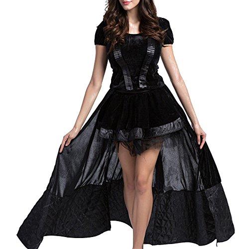 KINDOYO Damen Der Prinzessin Halloween Karneval Verkleidung Gothic Kostüm Schwarz (Prinzessin Halloween Kostüm Gothic)