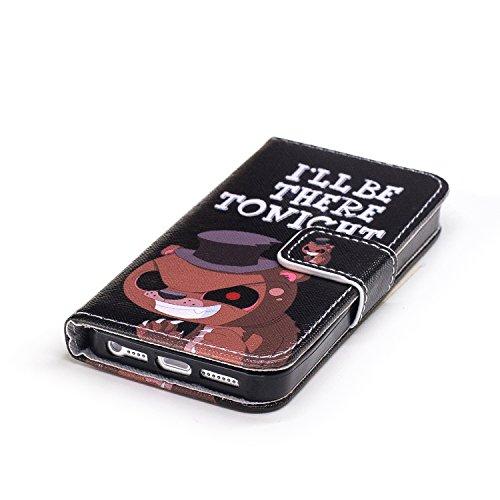 Aeeque® iPhone 5S Bookstyle Étui Card Slot [Charmant Series] Housse en Cuir Fermeture Magnétique Case à rabat pour iPhone 5 5S Coque de protection Portefeuille TPU Case - Tournesol Pourpre rose Motif #20