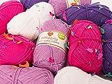 myboshi Wollpaket EINHORN Wolle zum Häkeln oder Stricken in knalligen Bonbon Mädchenfarben (10 KNÄUEL)