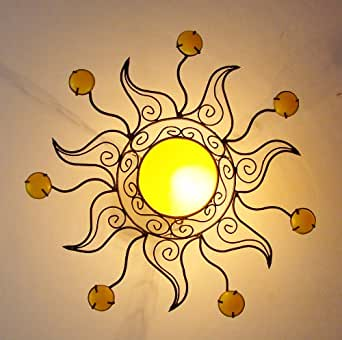 lustre plafonnier marocain en fer forg couleur jaune applique lampe bougeoir spot. Black Bedroom Furniture Sets. Home Design Ideas