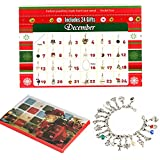 Zhuofu Advent Calendar,DIY Bracelet Necklace set with 22 Charms Fashion Jewelry Countdown Christmas Theme Gifts for Kids
