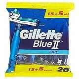 Gillette BlueII Plus 20 Lamette Da Uomo Usa e Getta -15+5 Gratis