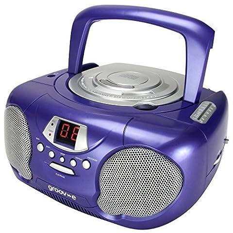 Groov-e Boombox Portable CD Player with Radio & Headphone Jack - Purple