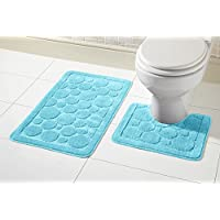 Aviator London Toilet Two Piece Bath Mat & Pedestal Set, Non Slip Bathroom Set Non Slip Back 100% Polypropylene Reverse: 100% Latex (Aqua)