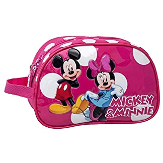 Disney Minnie y Mickey Lunares Neceser Adaptable, Color Rosa, 3.36 litros