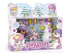 Pinypon - 700010265a - poupée et mini-poupée - coffret 1 figurine + 1 bonhomme de neige + 1 animal