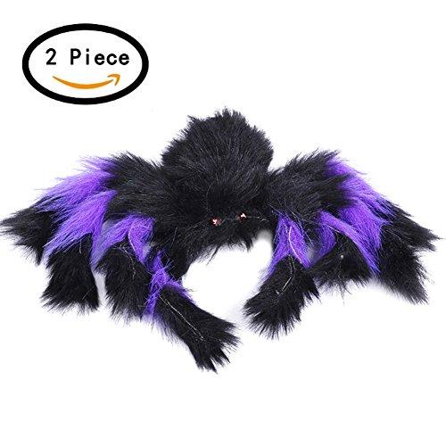 Moolecole 2 Stück Behaart Spinne Halloween Haunted Haus Dekor Spielzeug Party Bar KTV Halloween Dekoration Halloween Requisiten Lila (Ding 2 Kinder Halloween Für Ding Kostüme 1 Und)