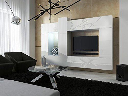 FUTURE 22 Moderne Wohnwand, Exklusive Mediamöbel, TV-Schrank, Neue Garnitur, Große Farbauswahl (RGB LED-Beleuchtung Verfügbar) (Weiß MAT base / Weiß HG front, Möbel)