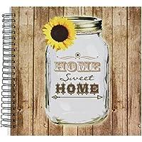 3dRose DB _ 128555_ 2Paese rustico Mason Jar con girasole Memory Book Home Sweet Home, 12da