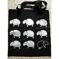 schwarzer Beutel mit Schafen handmade - Baumwolltasche, Stofftasche