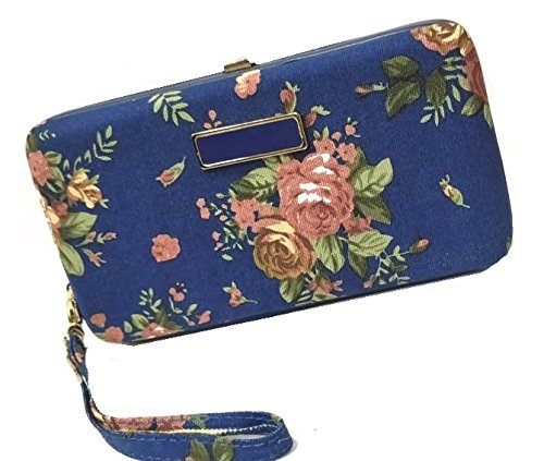 MOCA Beautiful Peony Floral Push Lock Wallet for Womens Wallet Clutch Phone Wallet Hand purse For Womens Women's Girls Ladies Wallet Clutch Purse Card Holder Wallet for Women. (Dark Blue)