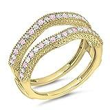 DazzlingRock Collection  -  14 Kt  Gelbgold Rundschliff   Getöntes Weiß/Top Cape (K) pink/rosa Diamant Pinkfarbener Saphir