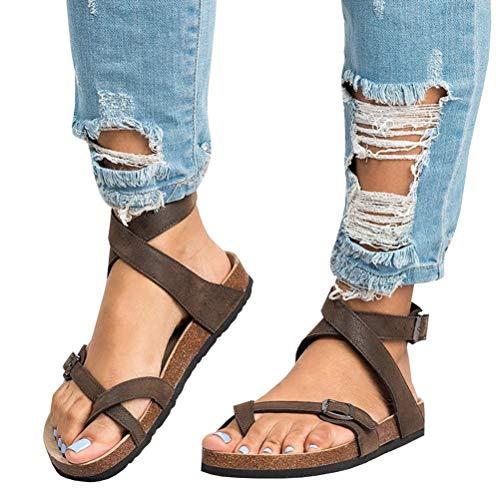 Mujer Sandalias Planas Verano Tobillo Correa Hebilla Zapatillas Plataforma Zapatos Plano Cómodos Negro Marrón Beige 35-43 BR40