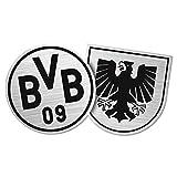 Borussia Dortmund BVB Aufkleber Wappen 2 Stück, Folie, Silber/schwarz, 10 x 7 x 1 cm, 2-Einheiten