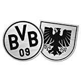 BVB Aufkleber Wappen 2 Stück, Folie, Silber/schwarz, 10 x 7 x 1 cm, 2-Einheiten