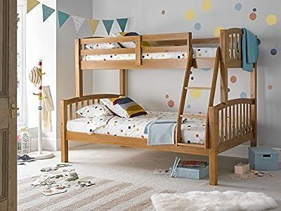 Happy Beds American Triple Sleeper Bunk Bed Modern Wooden Kids Bedroom Furniture - inexpensive UK light shop.