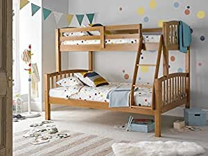 Happy Beds American Triple Sleeper Bunk Bed Pine Wooden Kids Bedroom Furniture Frame Only 3