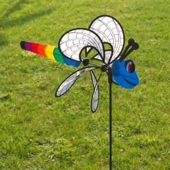 c Dragonfly - UV-beständig und wetterfest - Windrad: Ø38cm, Motiv: 46x18cm, Gesamthöhe: 103cm - inkl. Fiberglasstab und Bodendübel (Dragonfly) ()