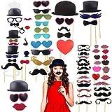 Disino 44 Photobooth Selfie Accessoires Kit Photo Booth avec des Lunettes de Bouche Moustache Chapeaux sur des Autocollants pour la Décoration de Mariage Anniversaire Photo de Cabine de Photo