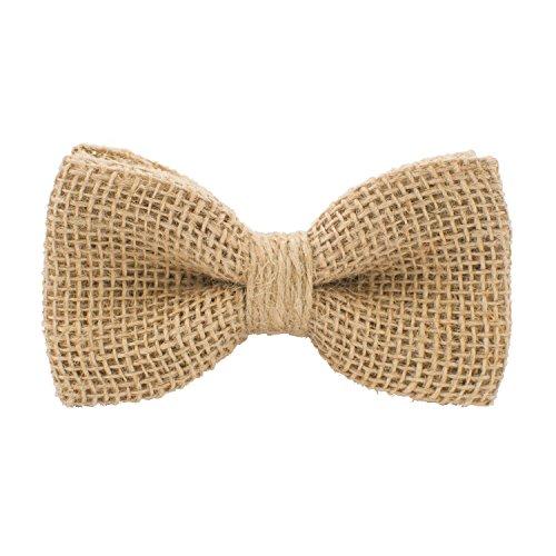 Bow Tie House Rustic Pre-Tied Bow Tie in 100% Burlap Hessian, by (Beige, Medium) - Pretied Bow Tie