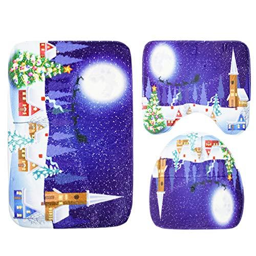 Kuncg Badteppich Rutschfest WC Vorleger Badematten Set 3 Teilig Flanell Badvorleger Bad-Teppiche Pflegeleicht Teppich Gedruckt Duschvorleger Weihnachten Deko