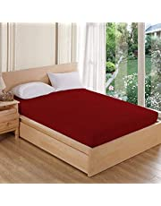 AVI Waterproof Dustproof Terry Cotton Mattress Protector Single Bed - Maroon (36 X 78 inches)