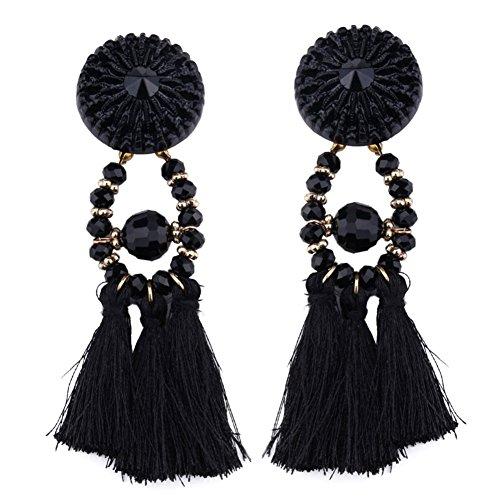 LQZ Quasten Damen-Ohrringe mit Kristalle Perlen Bohemien Vintage Handcrafted Tracht (Ohrringe Trachten Vintage)