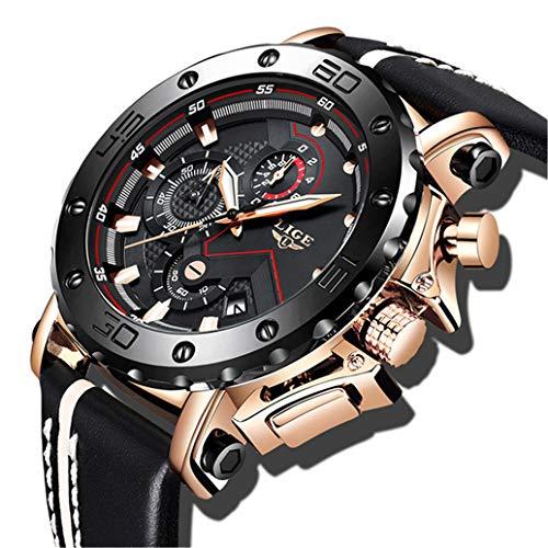 LIGE Herren Uhren Sport wasserdichte Analog Quarz Uhr Männer Gold schwarz Edelstahl Chronograph Militär Leder Armbanduhr (Gold-analog-herren-uhr)