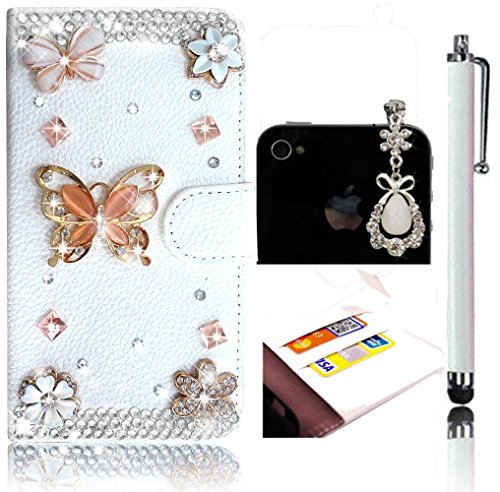 Coque iPhone 5s, Sunroyal® Apple iPhone 5/5S Etui à Rabat PU Cuir Portefeuille Housse Feature Bling Rose Diamant Strass Case Cover Ultra-fin Flip Couvercle Rabattable Dragonne Chaîne avec Stand et Ran Diamant 11