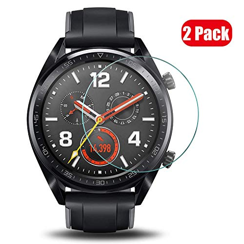 Voviqi Huawei Watch GT Active/Elegant Panzerglas, 9H verbesserte gehärtetes Glas Folie [Blasenfrei] [Anti-Fingerabdruck] Bildschirmschutzfolie für Huawei Watch GT Active/Elegant, 2 Stück