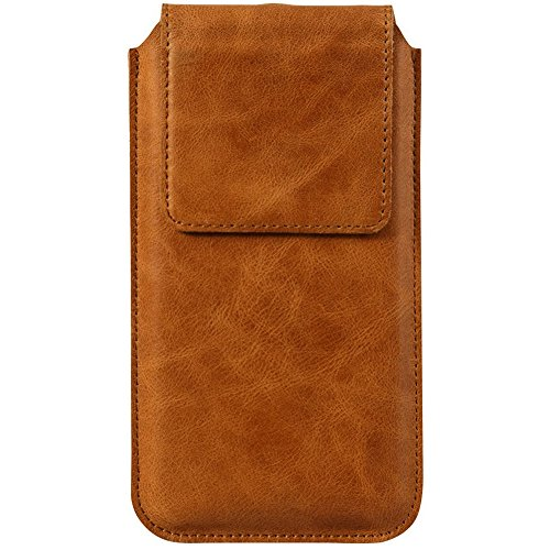 Jisoncase JS? Klassischer Stil Handgefertigt Bifold Foilo Flip Leder Geldbörse Tasche, stylische Clutch mit 3 Kartenfächer und magnetische Slim Cover für iPhone 6 6S Plus Samsung Galaxy S6 Edge Plus iPhone 6 / 6S-Vintage Cowhide Brown