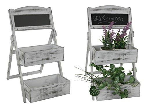Blumenregal im Shabby Chic Look - weiße Pflanztreppe mit 2 Böden und Schreibtafel - Blumen Treppe Bank Leiter
