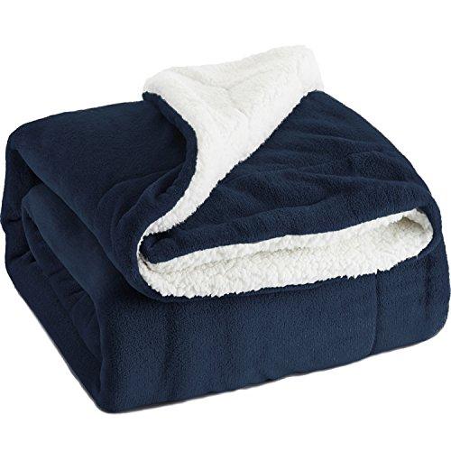 Kuscheldecke 150x200cm Blau Navy flauschige warme Wohndecken, Doppelt genäht Zweiseitige Sherpawolle Fleece Decke Bett- und Sofadecken, Super weiche Überwurf Decken von Bedsure (Hunde Für Große Stoff)