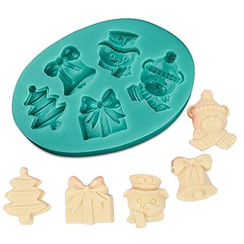 Beiersi Weihnachten Geschenk Silikon Form für Fondant Marzipan Tortendeko Ausstecher Seife Dekoration Werkzeug (Stil (Ausstecher Weihnachten Geschenk)