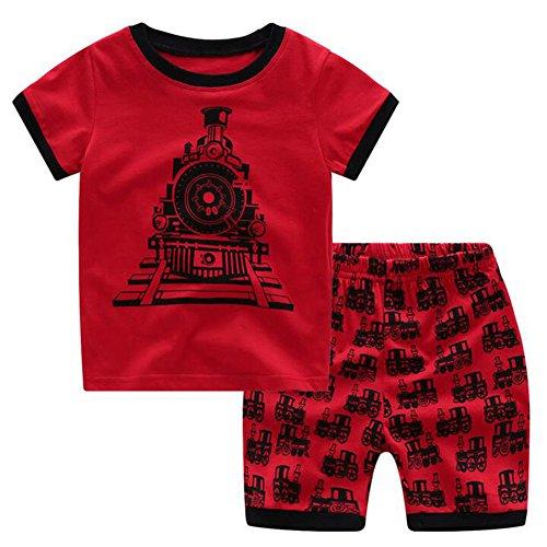 Jungen Mädchen Pyjamas Hibote Baumwolle Kurz Nachtwäsche Pyjamas Nachtwäsche SetTrain 120cm 6 (Baby Uk Kostüme Wars Star)