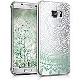 kwmobile Étui transparent élégant avec Design soleil indien pour Samsung Galaxy S7 edge en menthe blanc transparent