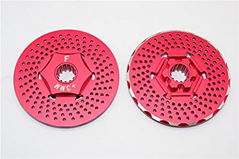 Traxxas X-Maxx 4X4 Upgrade Pièces Aluminium Front Wheel Hex Claw +3mm With Brake Disk - 2Pcs? Red