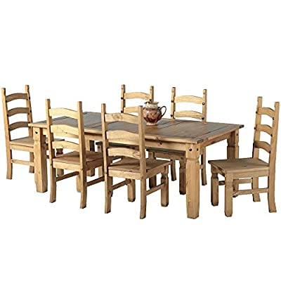 "Mexican Corona 6ft Pine 70"" Dining Table Set / 6 Chairs antique waxed"
