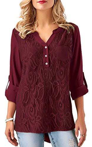 ECOWISH V Ausschnitt Damen Top Spitzen Oberteil Casual Tunika Langarm Shirt Bluse Rot 2XL (Langarm-tunika Spitze)