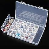 PEPECARE Clear Plastic 28 Slots Nail Art Tools Jewelry Display Storage Box Case Organizer