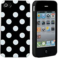 SPRAWL@ Super Cute Design silicone PROTEZIONE Case / Custodia / Custodie / Skin / GUSCIO Per Mobilephone Apple IPHONE 4 4G 4GS- Polka Dot Pois Black Nero/White Bianco