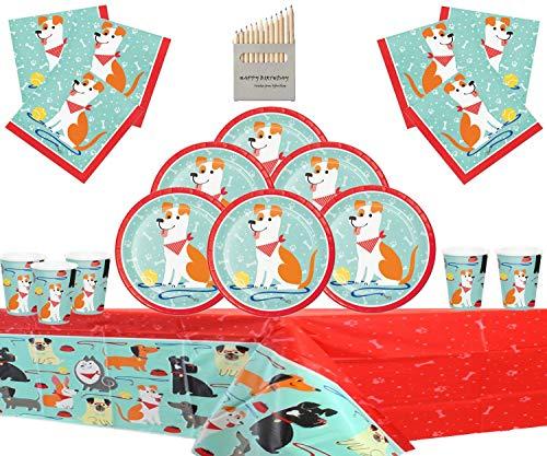 Hund Party liefert Welpen Hund Geburtstag Party Kit für 16 Gäste-Einweg Welpen Party Teller Tassen Servietten Tisch Decken