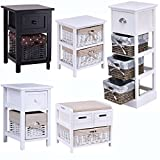 Costway Wooden Bedside Table Wicker Nightstand Storage Drawer Unit W/Rattan Basket White (White & 1 Drawers)